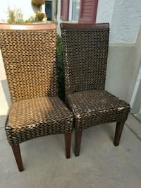 2 mocha colored woven chairs good shape have some  2390 mi