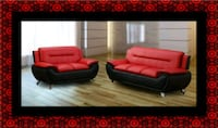 Red/black sofa and loveseat 2pc set Mount Rainier, 20712