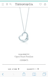 Elsa Peretti Open Heart Necklace Edmonton, T6K 2B6