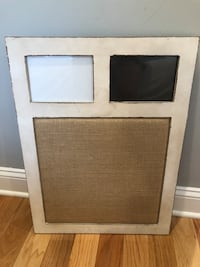 Picture display with burlap corkboard!