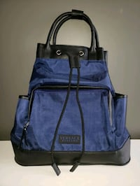 Versace Backpack Tote Handbag Blue Genuine Leather Newmarket