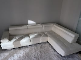 White Leather Sectional Sofa - Modern Luxury