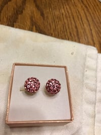 Pink Glitter Ball Earrings