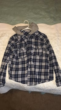 blue and white plaid button-up hoodie Broken Arrow, 74012