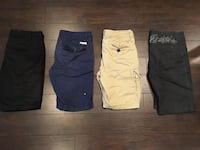 four assorted color shorts