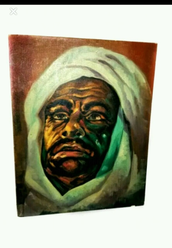Mid century painting of a man in headdress f509f148-91ce-4262-b11f-0eb36a1700a8
