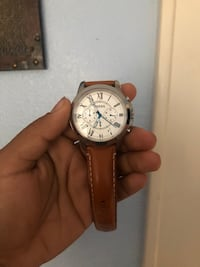 round silver chronograph watch with brown leather strap Anaheim, 92805
