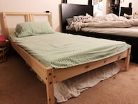 Brown wooden bed frame with white mattress Los Angeles, 90068