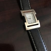 Square silver square faced watch with black leather strap Lewisville, 75067