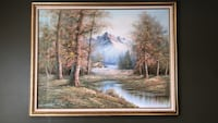 "53""x 41"" framed painting of river cabin scenery North Babylon, 11703"