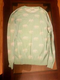 green and white elephant print sweater