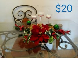 red artificial Poinsettia flowers table decor