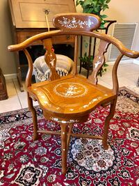 Oriental Wood Chair with Mother-of Pearl Inlays Valrico