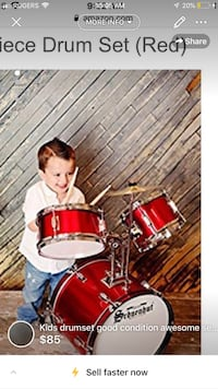 Kids drumset good condition awesome set for any young boy or -makes it an amazing Christmas gift London, N5W 6E2