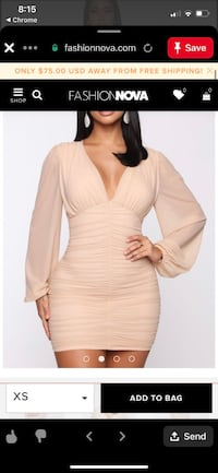 Fashion nova nude ruched dress