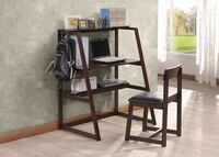 King's Brand HO4572 Wood Bristol Study Set Desk and Chair, Espresso Finish Seattle