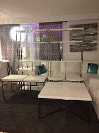 MODERN WHITE GLOSSY & CHROME MONARCH FURNITURE SALE