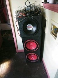 black and red subwoofer speaker Raleigh, 27603