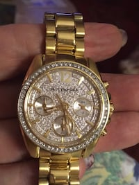 round gold Michael Kors chronograph watch with link bracelet Hudson, 12534