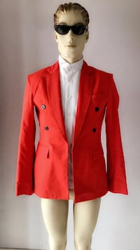 Women's red button up jacket