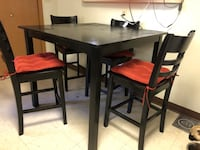 Rectangular black table with four chairs dining set Cheney, 99004