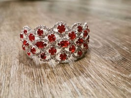 Red rhinestone Christmas bracelet