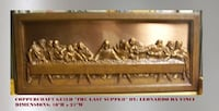 "Coppercraft Guild ""The Last Supper"" By Leonardo Da Vinci - Color: Copper. Brown wooden frame.  SOUTHAMPTON"