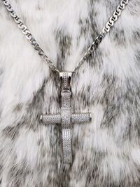 Sterling Silver Mariner Cross Cz Necklace