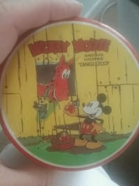 Vintage Mickey mouse and tanglefoot tin can Charleston, 25387