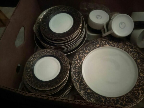 **42 piece navy and blue gold trimmed dinner ware