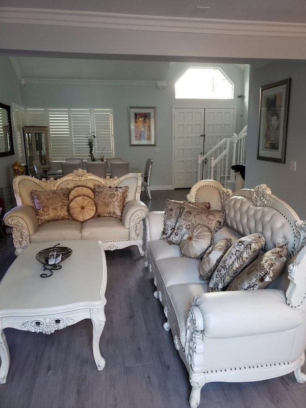 Used Victorian living room set. 2 seat couch/ 3 seat couch/ coffee ...