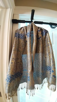 brown and blue floral scarf