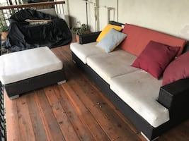 Outdoor couch and ottoman