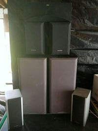 black and gray home theater system