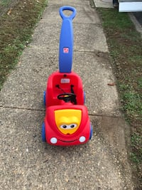 kid's red and blue push trike