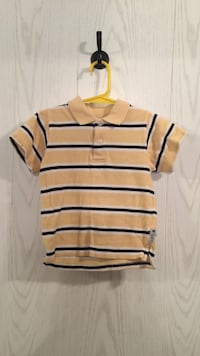 "Baby boy, ""E Land "" Blue, White, and Yellow striped shirt Tuscaloosa, 35405"