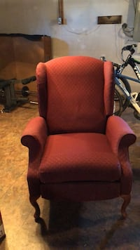 Brown wooden frame red padded armchair Ellicott City, 21043