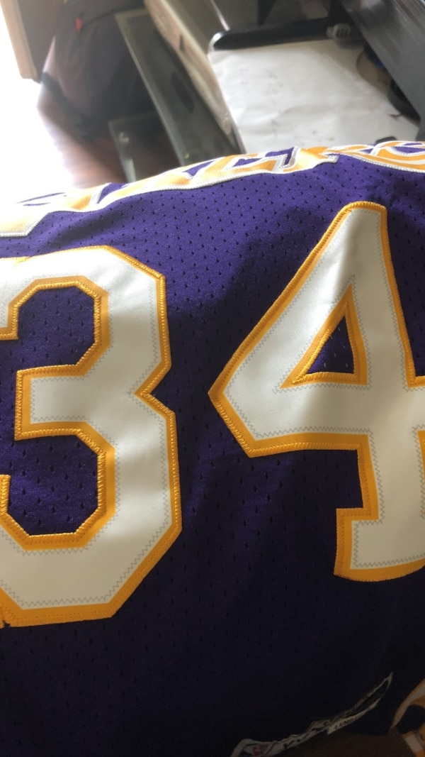 the best attitude b5160 e0330 Used blue, white, and yellow #34 Shaquille Oneal LA Lakers ...