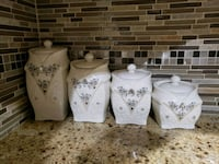 white-and-gray floral ceramic canisters Surrey, V3W 2Z4