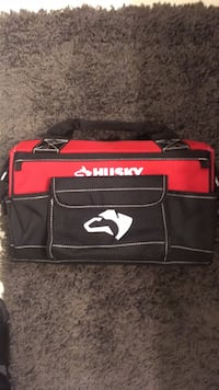black and red Supreme leather bag Surrey, V3V 7T2