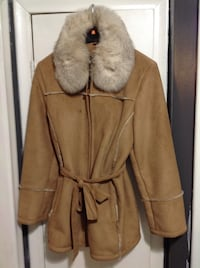 women's brown and white fur coat
