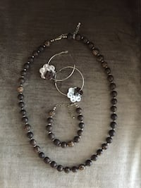 Brown beaded necklace and bracelet Laval, H7X