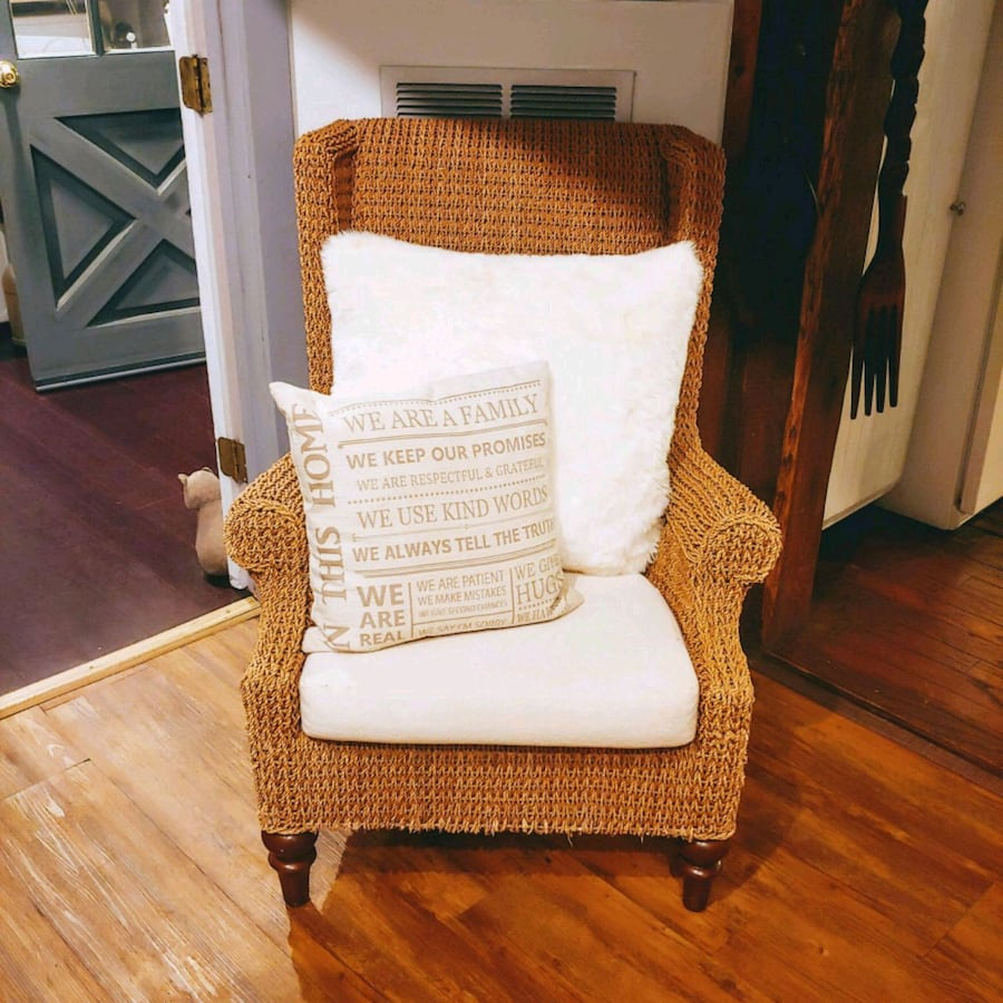 Crate and Barrel Wing Back Woven Arm Chair