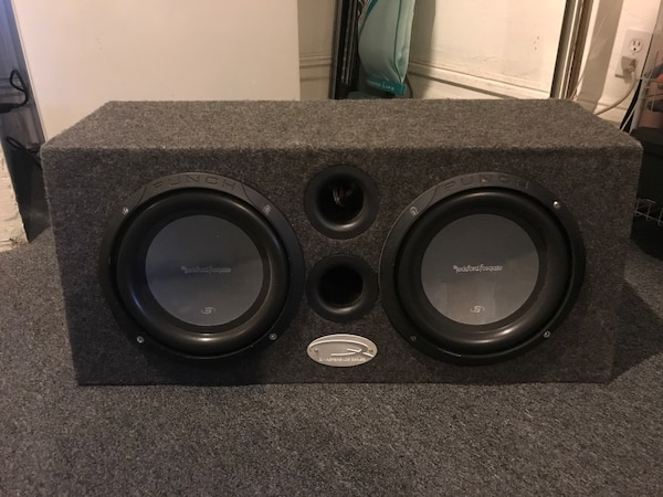 black Rockford Fosgate car subwoofers with gray enclosure