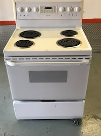 white and black electric coil range oven Montréal, H1L 3V6