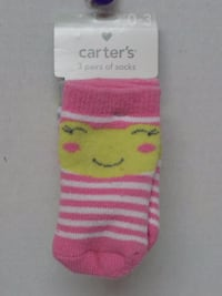 Brand New - Carter's 3 Pairs of 0-3 Months Socks (Price On Back of Package $12.00) Tulsa