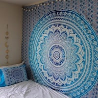 INDIAN MANDALA HOME DECORATION TAPESTRY BLUE NEW Victoria
