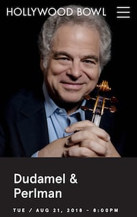 Concert tickets to dudamel and itzhak Perlman  Alhambra, 91803