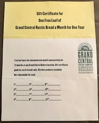Grand Central Bakery Gift Certificates