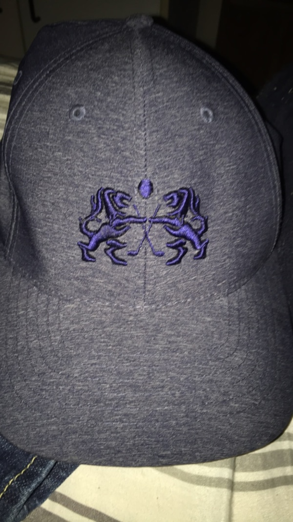 gray and purple floral cap